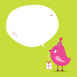 Pink Bird Birthday Gift Speech Bubble Green Dots