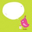 Pink Bird Birthday Gift Speech Bubble Green Dots