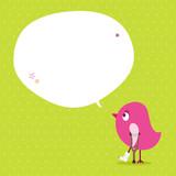 Pink Bird Leg In Plaster Speech Bubble Green Dots