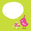 Pink Bird 10 Cupcakes Speech Bubble Green Dots