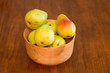 Wood Bowl of Fresh Bartlett Pears