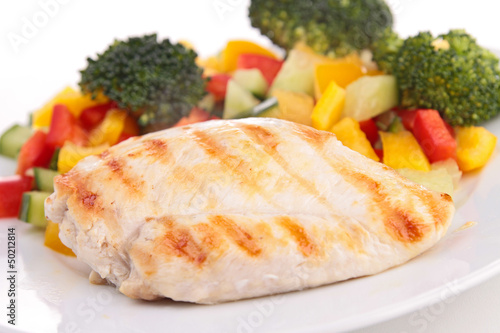 grilled chicken breast and vegetable