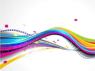 abstract colorful wave background with grunge