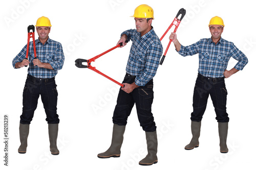 Worker with bolt cutters