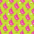 Seamless Pattern Pink Birthday Birds Symbols Green