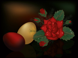 Easter eggs with red rose, vector illustration