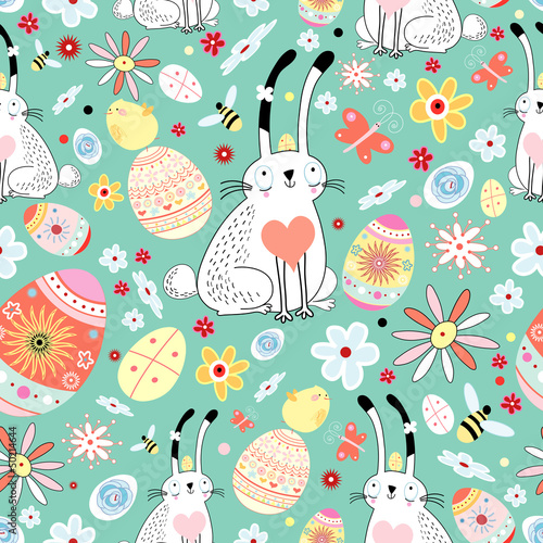 Materiał do szycia floral texture Easter bunnies and chicks