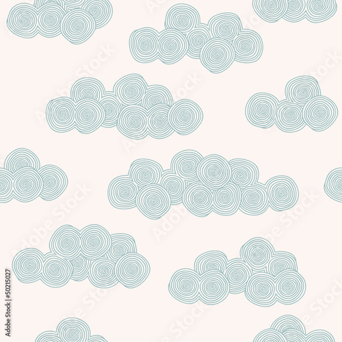 Seamless hand drawn pattern with stylized clouds - 50215027