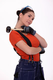 Working woman with mace on his shoulder