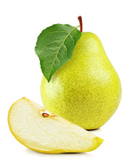 fresh yellow pear on white background