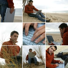 Collage of a man using his laptop by the sea