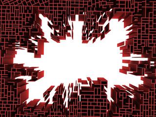3d render of wall broken