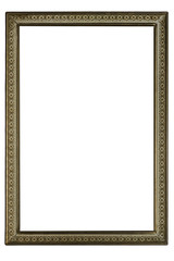 Golden Old Antique Frame Isolated On White Background