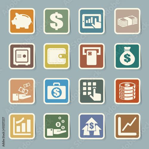 Finance and money  sticker icon set.