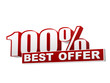 100 percentages best offer red white banner - letters and block