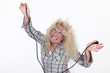 Woman getting an electric shock