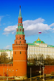 Moscow Kremlin Tower, Big Kremlin palace with a flag.