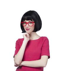 Brunette girl in glasses at white background.