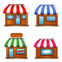 Wooden Storefronts with awnings