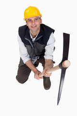 Top-view of man with pick-ax