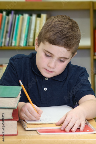 Boy Doing School Work