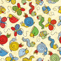 background with cartoon insects