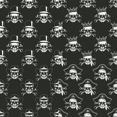 Set of backgrounds Seamless emblems of skulls