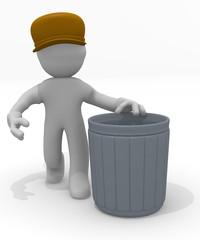 Trash man with a garbage bin