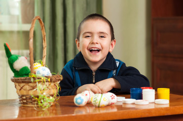 funny boy colored Easter eggs
