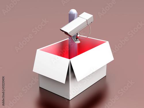 Überwachungskamera aus der Schachtel