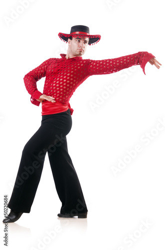Man dancing spanish dances on white