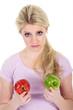 Frau kann sich nicht entscheiden, Rot oder Grün