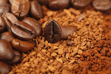 Instant Coffee Powder and Coffee Beans