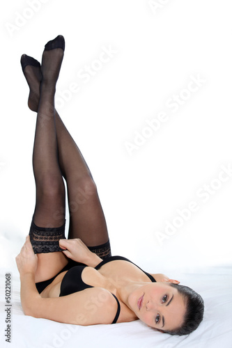 Woman in hold-up stockings