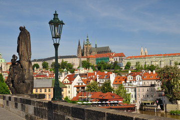 Prague, Charles bridge, Vltava river, St. Vitus cathedral