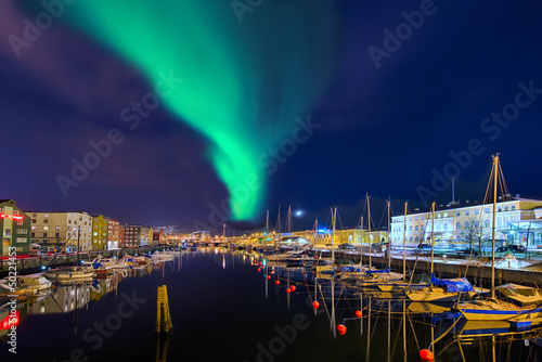 canvas print picture Nordlicht in Trondheim  Norwegen