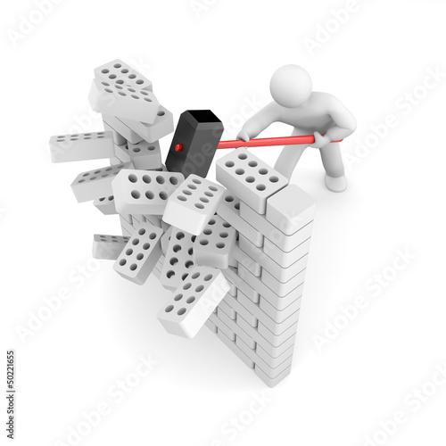 Man smashes wall