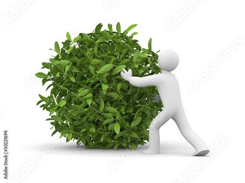 3d man with green grass ball