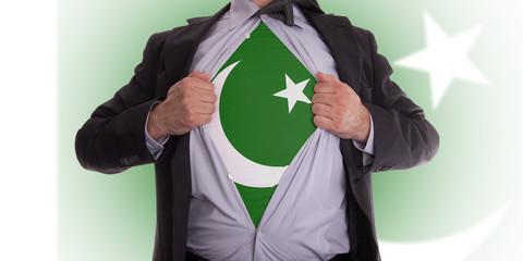Business man with Pakistan flag t-shirt