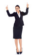 Business woman standing and showing thumbs up gesture