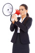Business woman screaming loudly thru big megaphone