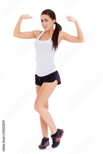 Woman showing her muscle