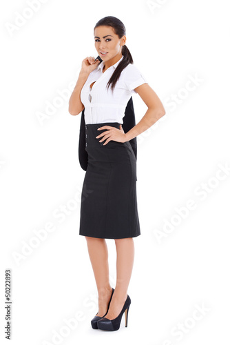 Business woman standing over white background