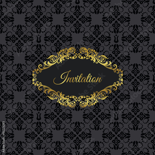 Golden vintage frame invitation on black seamless pattern