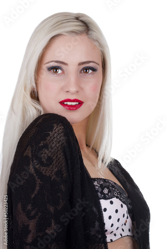 Beautiful young sexy woman with long blond hair and red lipstick