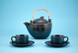 morning drink dish retro teapot cups saucers blue