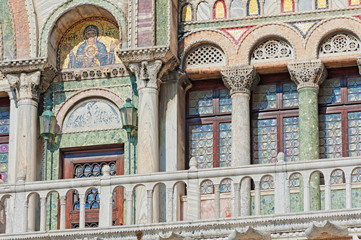 Picturesque part of Saint Mark Basilica in Venice, Italy