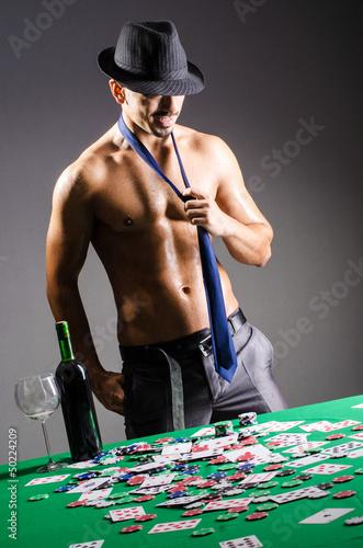 Naked broke businessman in casino