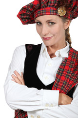 woman in Scottish costume