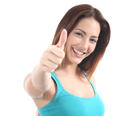 Portrait of a beautiful teenager with thumb up